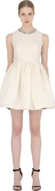 Dice Kayek , Cloque Dress With Embellished Collar