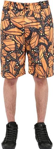 Der Metropol , Butterfly Printed Techno Canvas Shorts