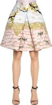 Piccionepiccione , Birds Print Pleated Shantung Skirt