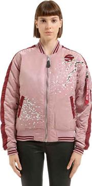 Alpha Industries , Floral Embroidered Nylon Bomber Jacket