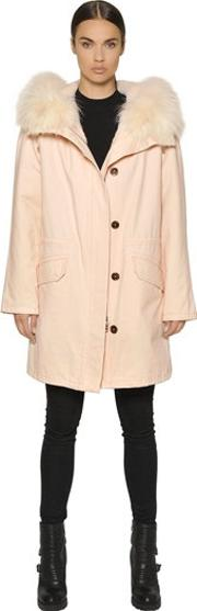 Army By Yves Salomon , Cotton Canvas Parka W Lapin Fur Lining