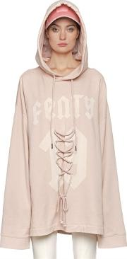 Fenty X Puma , Lace Up Detail Hooded Cotton Sweatshirt
