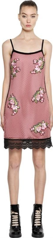 House Of Holland , Mini Mesh Dress W Floral Patches