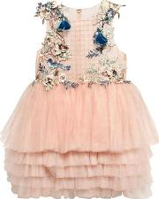 Mischka Aoki , Flowers & Birds Embellished Tulle Dress