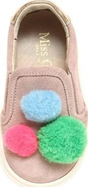 Miss Grant , Suede Slip On Sneakers W Pompoms
