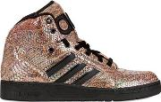 Adidas By Jeremy Scott , Python Printed Leather High Top Sneakers