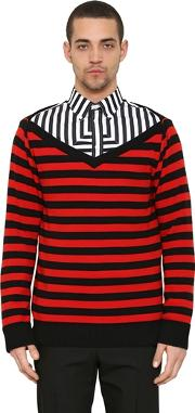 Givenchy , Deep V Striped Merino Wool Sweater