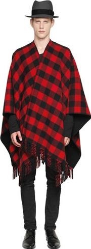 La Mericaine , Checked Wool Blend Cape
