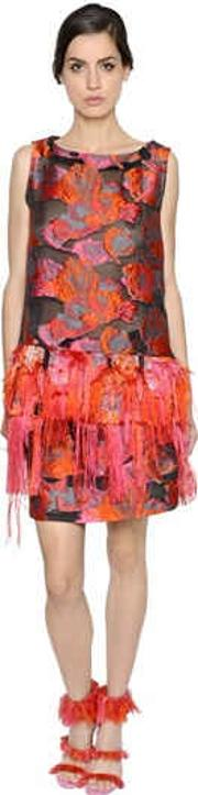 Gianluca Capannolo , Floral Fringed Jacquard & Fil Coupe Top