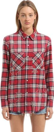 Amiri , Stars Embellished Checked Flannel Shirt