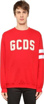 Gcds , Plush Logo & Striped Cotton Sweatshirt