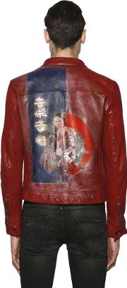 Php , Hand Painted Biker Leather Jacket