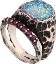 Voodoo Jewels , Sigillum Ring With Synthetic Rubies