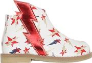 Ocra , Stars & Bolts Print Leather Ankle Boots