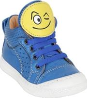 Ocra , Smiley Patches Metallic Leather Sneakers
