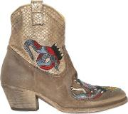 Elena Iachi , 50mm Suede & Snake Effect Ankle Boots