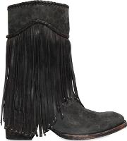 Mexicana , 65mm Printed Fringed Suede Boots