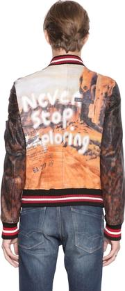 Php , Never Hand Painted Leather Bomber Jacket