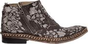 We Arethe Original , Embroidered Linen Canvas Ankle Boots