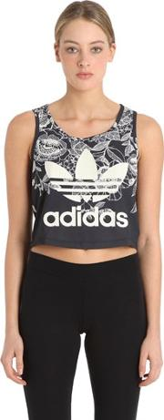 Adidas Originals By Farm , Flower Printed Jersey Cropped Tank Top