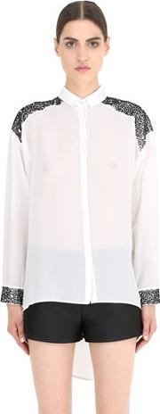 Nena Ristich , Embellished Silk Shirt With Cutouts