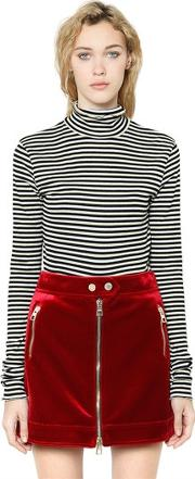 Tommy Hilfiger Collection , Striped Lurex Rib Knit Cropped Top