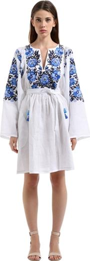 Vita Kin , Forget Me Nots Embroidered Linen Dress