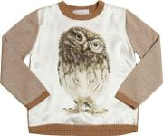 Venera Arapu , Owl Printed Silk Satin & Wool Sweater