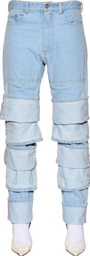 Y Project , Layered Cuffs Washed Cotton Denim Jeans