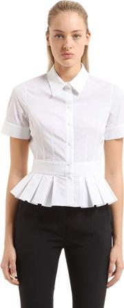 Alexander Mcqueen , Ruffled Cotton Poplin & Pique Shirt