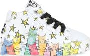 Be Kool , Cats Print Leather High Top Sneakers