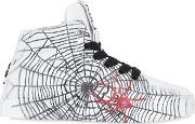 Be Kool , Spider Print Leather High Top Sneakers