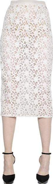 Burberry London , Cotton Lace & Organza Pencil Skirt