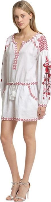 Cc By Camilla Cappelli , Embroidered Light Linen Dress