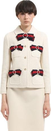 Gucci , Web Bow Details Light Tweed Jacket