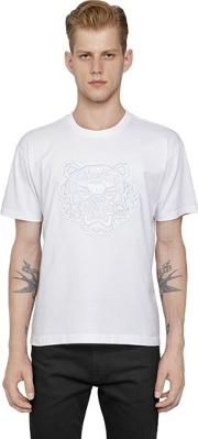 Kenzo , Mesh Tiger Embroidered Cotton T Shirt