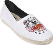 Kenzo , Tiger Embroidered Canvas Espadrilles