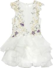 Mischka Aoki , Embroidered Lace & Stretch Tulle Dress