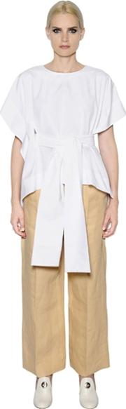 Sportmax , Asymmetric Belted Cotton Poplin Blouse
