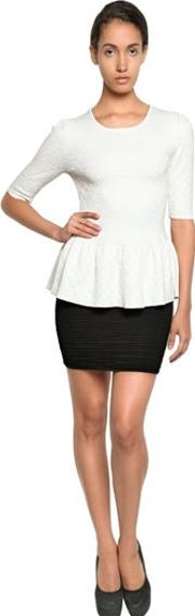 Torn By Ronny Kobo , Jacquard Knit Peplum Top