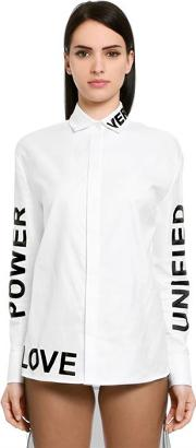 Versace , Words Printed Cotton Twill Shirt