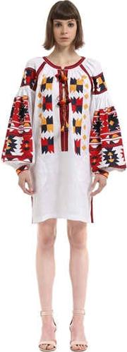 Vita Kin , Magic Mix Embroidered Linen Tunic Dress