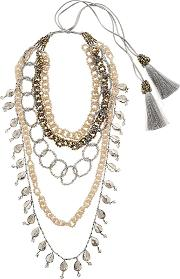 Nightmarket , Dropped Multi Chain Beaded Necklace