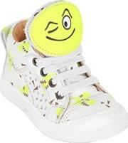 Ocra , Smiley Patches Printed Leather Sneakers