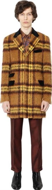 Lords & Fools , Checked Mohair & Alpaca Blend Coat