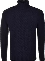 Edwin , United Knit Rollneck Jumper Navy