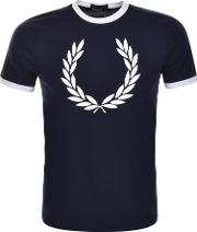 Fred Perry , Laurel Wreath Ringer T Shirt Blue