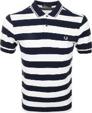 Fred Perry , Striped Pique Polo T Shirt Navy
