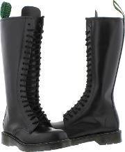 Solovair , Womens 20 Eye Leather Boot With Zip