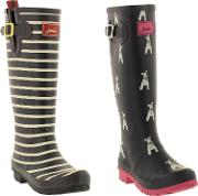 Joules , Womens Welly Print Tall Wellington Boots